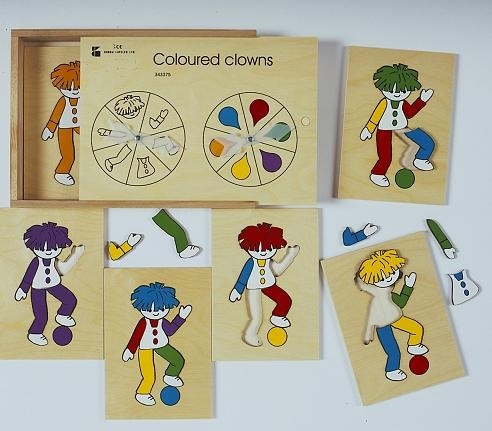 Coloured Clowns Wooden Game